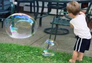 Child using the Bubble Blowing Technique