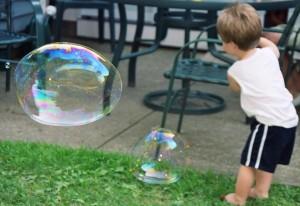 Child using the Bubble Blowing Technique